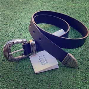 Zara Basic Black Silver Filigree Career Work Belt